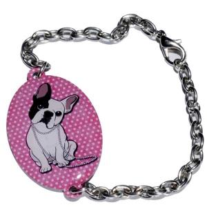 Bracelet métal bouledogue Sucette