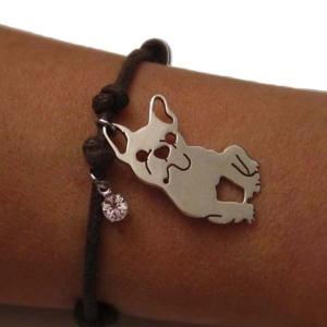 Bracelet cordon breloque bouledogue
