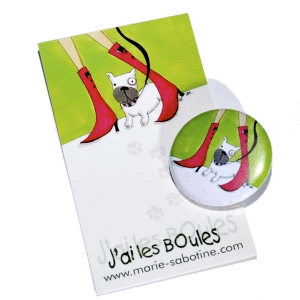 "Badge & carte message ""J'ai les boules"""