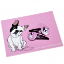 Barettes bouledogue & carte postale